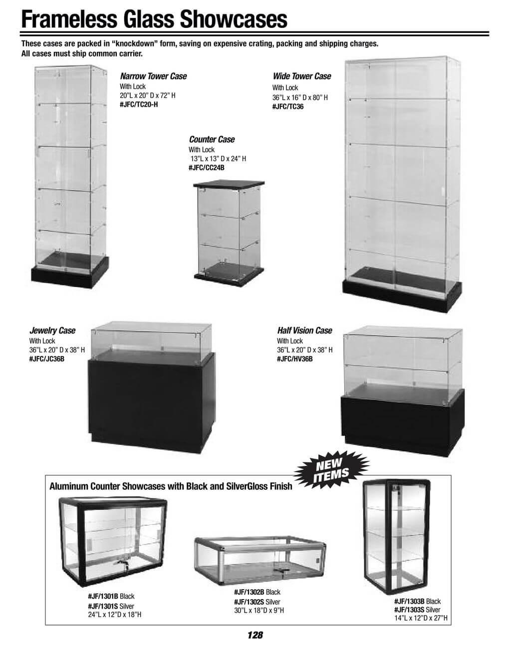 frameless glass showcases