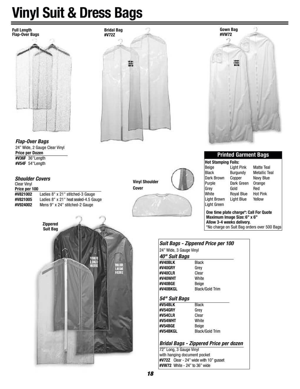 garment bags - vinyl and dress