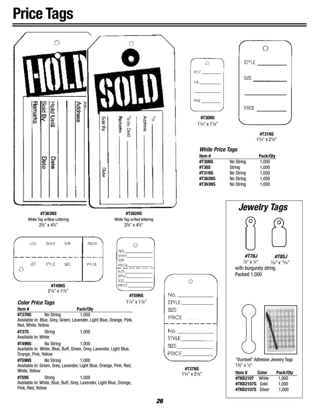 jewelry price tags