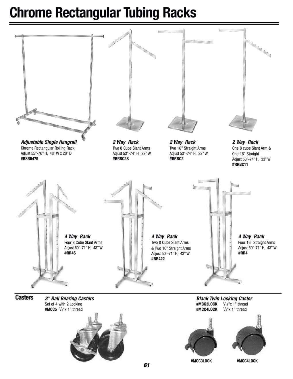 chrome rectangular tubing racks
