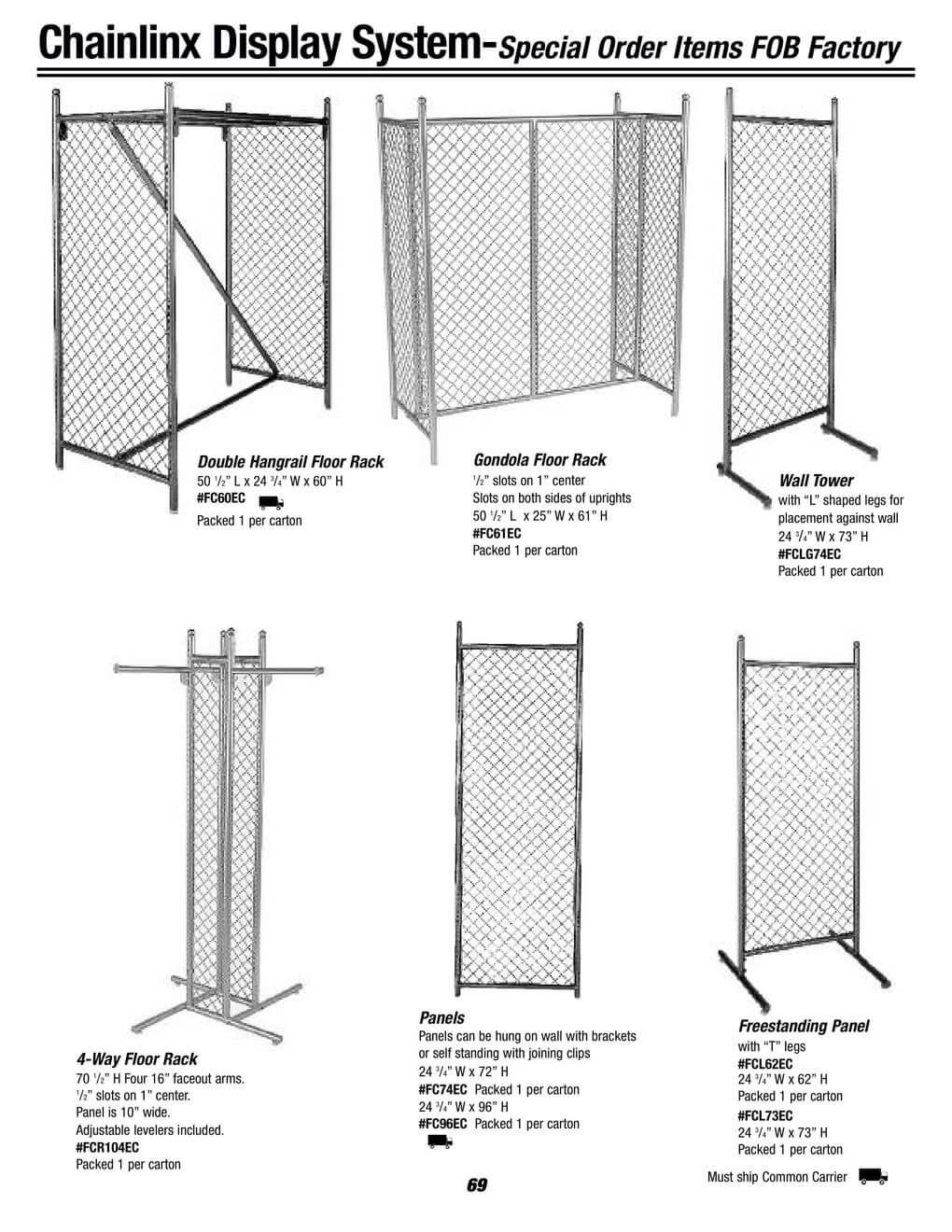 chainlinx display system hangrail, gondola and tower racks
